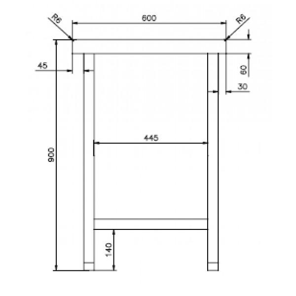 mesas de acero inoxidable  ancho 600 alto 900